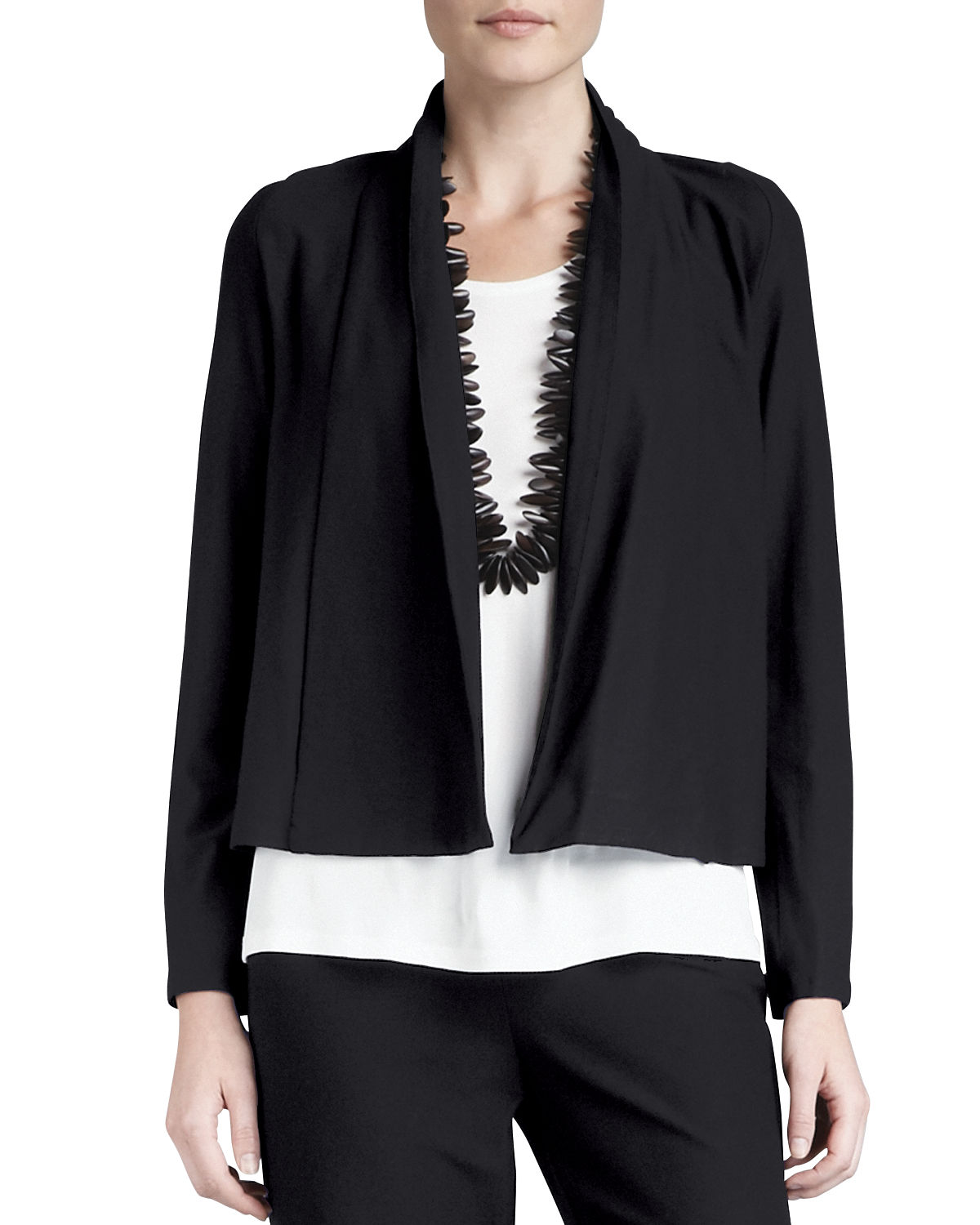 Washable Stretch Crepe Short Jacket by Eileen Fisher