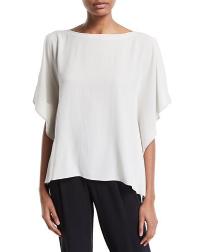 Open-Sleeve Silk Crepe Blouse