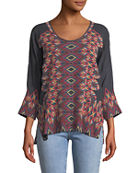 Johnny Was Plus Size Moni 3/4-Sleeve Embroidered Blouse