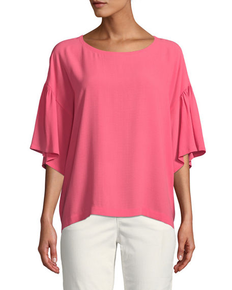 Eileen Fisher Scoop-Neck Elbow-Sleeve Silk Crepe Top