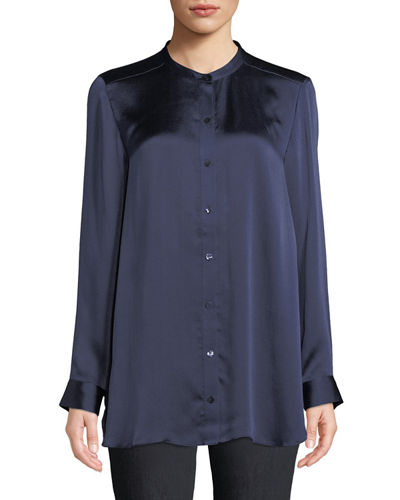 e568df58c4f5e Quick Look. Eileen Fisher · Hammered-Silk Mandarin-Collar Blouse
