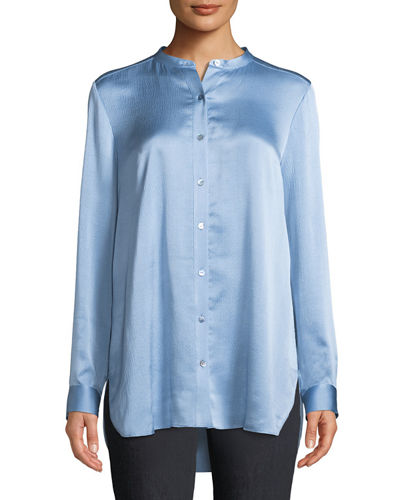 20603621 Quick Look. Eileen Fisher · Hammered-Silk Mandarin-Collar Blouse