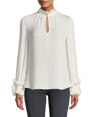 7e4d989d763196 Kobi Halperin Lexi Stretch-Silk Blouse with Smocked Detail