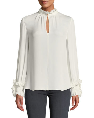Lexi Stretch-Silk Blouse with Smocked Detail