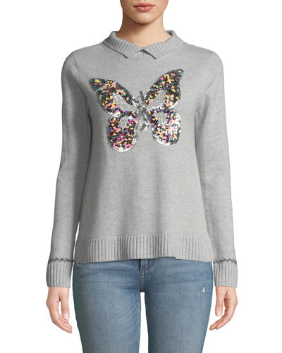 Sequined Butterfly Cashmere  Turtleneck Sweater