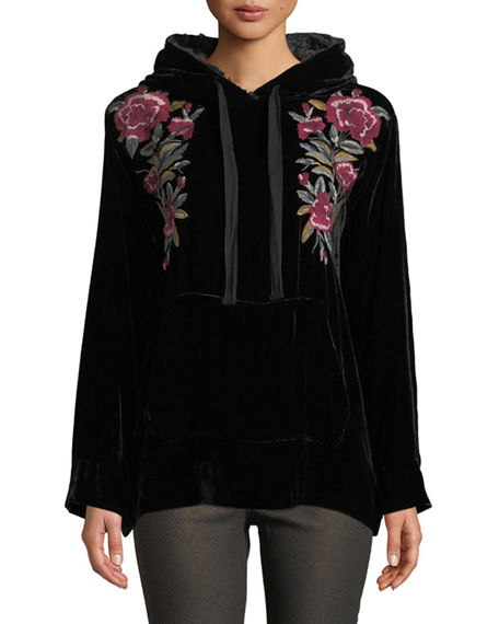 Johnny Was Silks MARMONT FLORAL-EMBROIDERED VELVET HOODIE