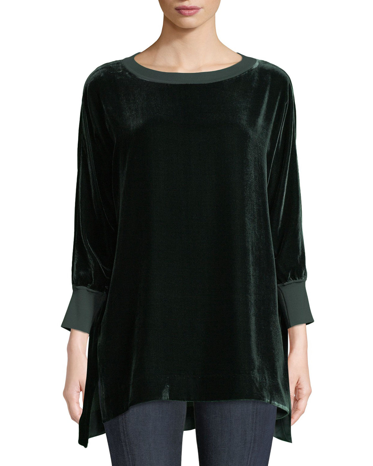 Lafayette 148 Knits JOPLIN ROUND-NECK LONG-SLEEVE VELVET BLOUSE W/ KNIT TRIM