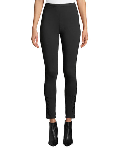 Darielle Tonal-Embroidered Leggings