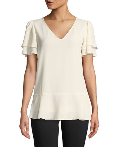 0e7c906aee Quick Look. MICHAEL Michael Kors · Double-Sleeve V-Neck Top. Available in  White