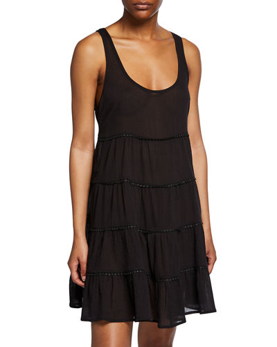 tiered scoop-neck coverup dress