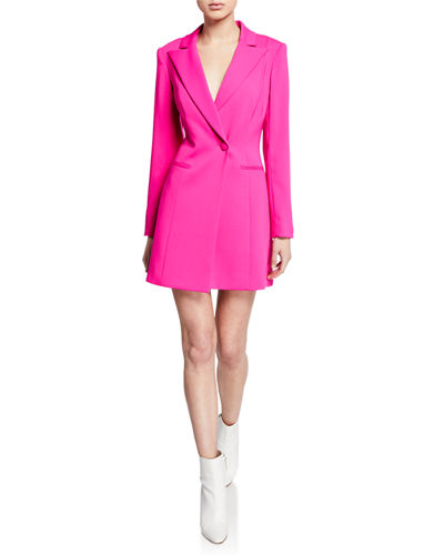 Ace One-Button Long-Sleeve Blazer Mini Dress