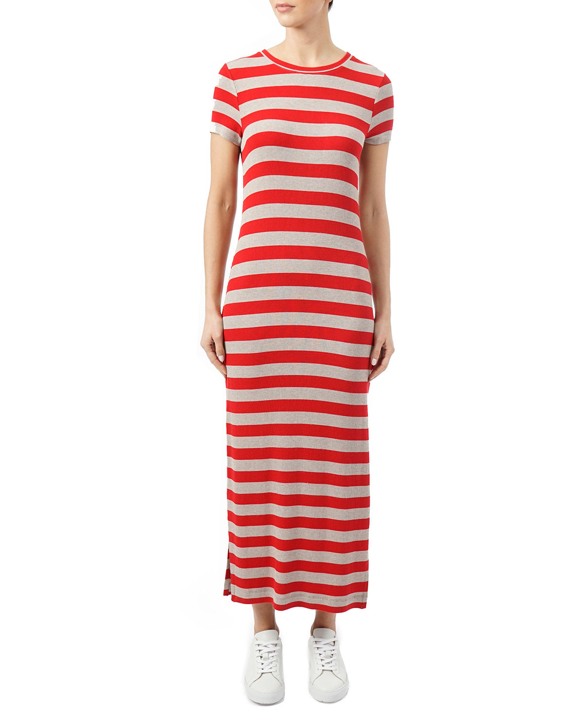 Three Dots Dresses STRIPED CREWNECK SHORT-SLEEVE DRESS WITH SLITS