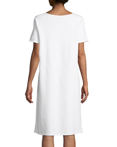 Eileen Fisher Petite Stretch Ponte Short-Sleeve Dress
