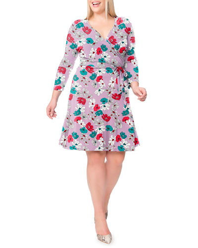Leota Plus Size Perfect Printed Wrap Dress