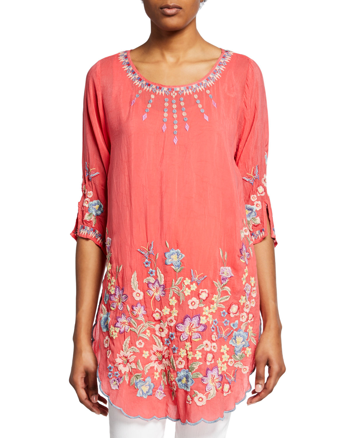 Johnny Was Tops MARIN FLORAL-EMBROIDERED SCOOP-NECK HALF-SLEEVE TUNIC