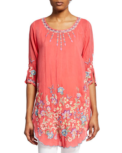 Marin Floral-Embroidered Scoop-Neck Half-Sleeve Tunic