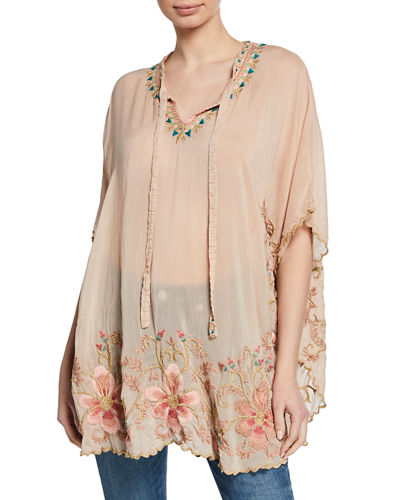 Plus Size Antoinette Split-Neck Short-Sleeve Georgette Top w/ Embroidery