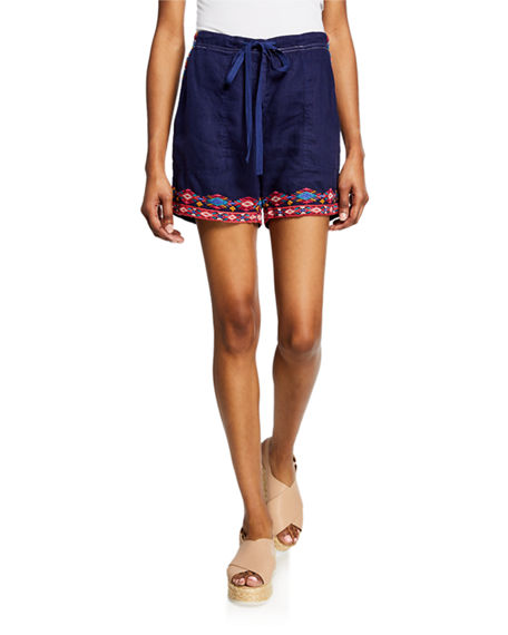 Johnny Was Shorts ETIENNE DRAWSTRING LINEN SHORTS W/ EMBROIDERED TRIM