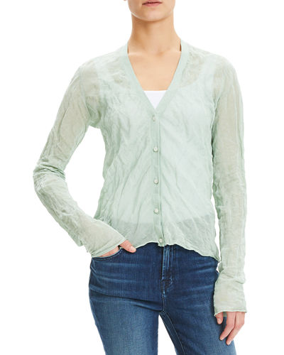 Crinkle Button-Front Metallic Crepe Cardigan