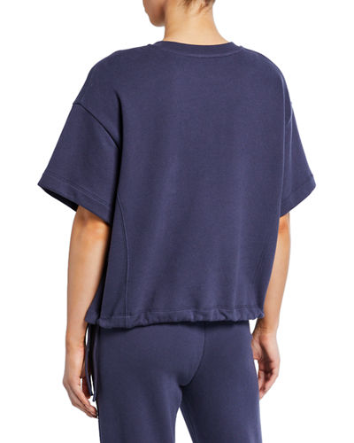 Vince Crewneck Wide-Sleeve Drawcord Pullover