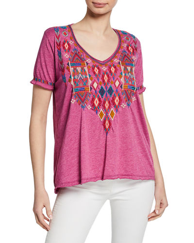 Plus Size Etienne Embroidered Scoop-Neck Short-Sleeve Jersey T-Shirt