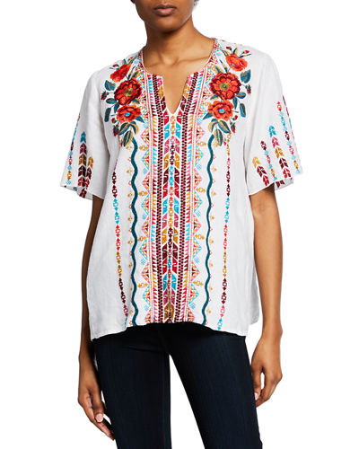 59ca6889f1953 Quick Look. Johnny Was · Ornelia Embroidered Short-Sleeve Linen Top