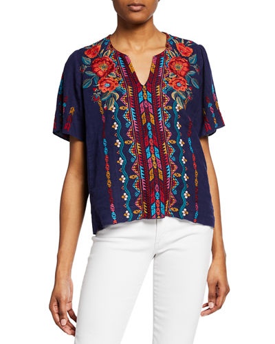 275b4d2b733 Quick Look. Johnny Was · Ornelia Embroidered Short-Sleeve Linen Top