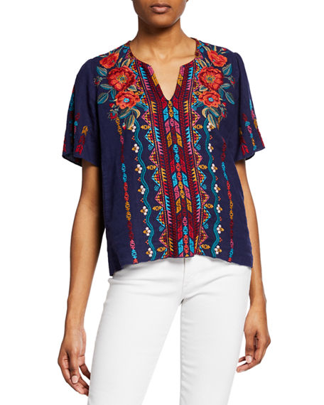Johnny Was Shorts ORNELIA EMBROIDERED SHORT-SLEEVE LINEN TOP