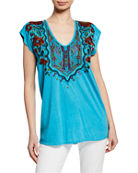 Johnny Was Ornelia Scoop-Neck Cap-Sleeve Embroidered Top