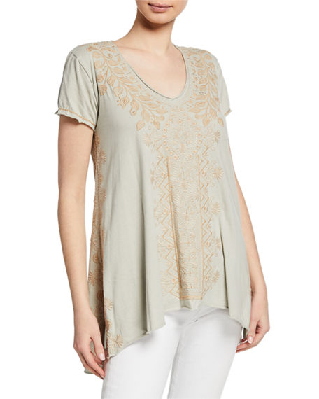 Johnny Was Shorts PLUS SIZE TASYA EMBROIDERED SHORT-SLEEVE DRAPE COTTON TOP