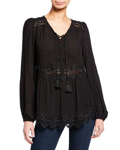 Mikala Raised Dot Lace-Up Front Long-Sleeve Blouse