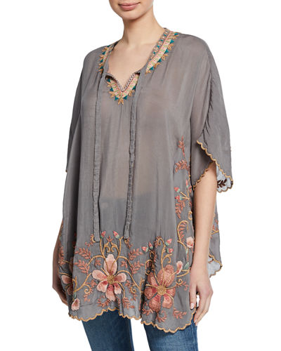 Antoinette Split-Neck Short-Sleeve Georgette Top w/ Embroidery