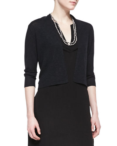 Open-Front Cropped Straight Cardigan