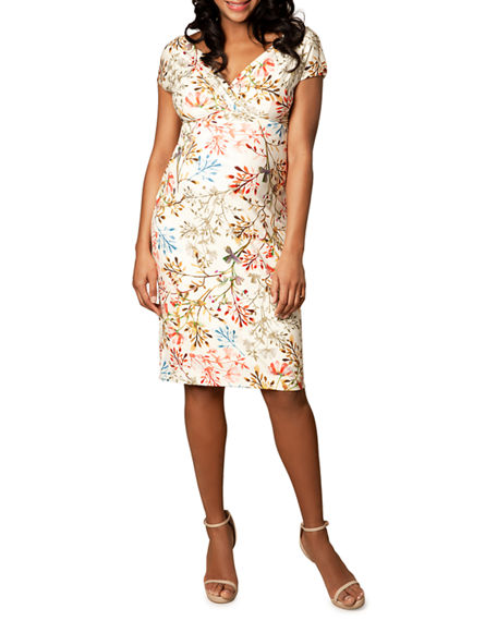 Image 1 of 2: Tiffany Rose Maternity Floral-Print Cap-Sleeve Shift Dress
