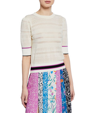 2f365de9473873 Tanya Taylor Leticia Banded Striped Sweater