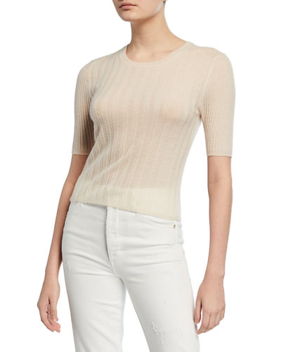 Crewneck Elbow-Sleeve Ribbed Cashmere Pullover