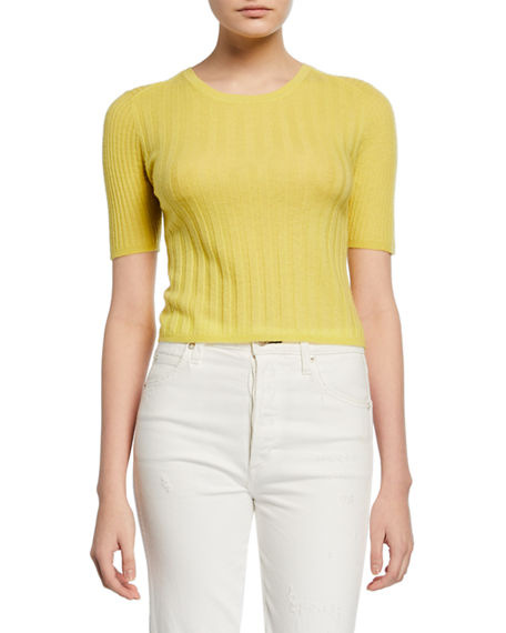 Vince Crewneck Elbow-Sleeve Ribbed Cashmere Pullover