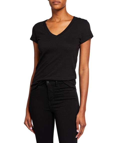 Image 1 of 3: L'Agence Becca V-Neck Short-Sleeve Tee