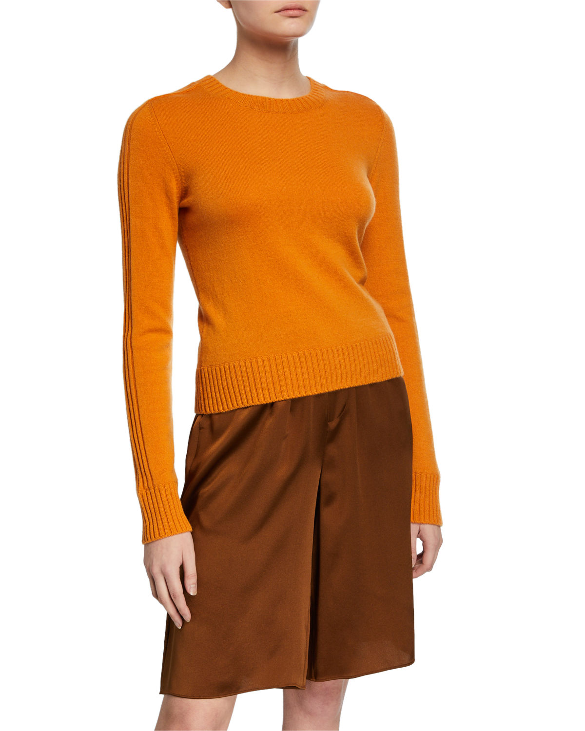 Vince Sweaters RUNNER CREWNECK LONG-SLEEVE CASHMERE RIB SWEATER