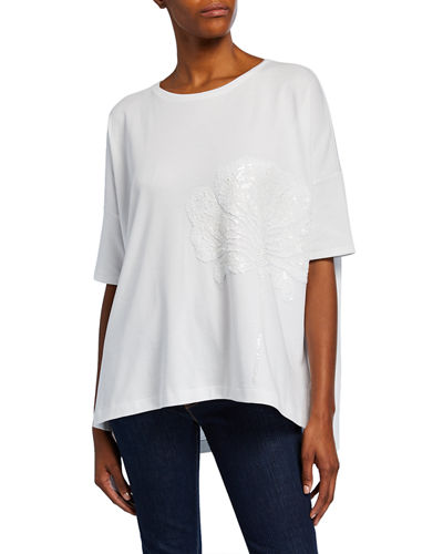 Plus Size Sequin-Flower Crewneck Half-Sleeve Big Tee