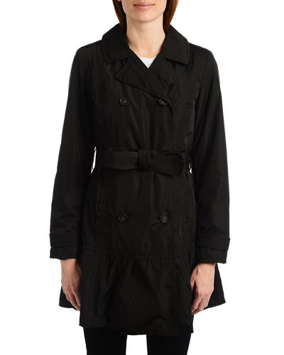 flounce double-breasted trench coat