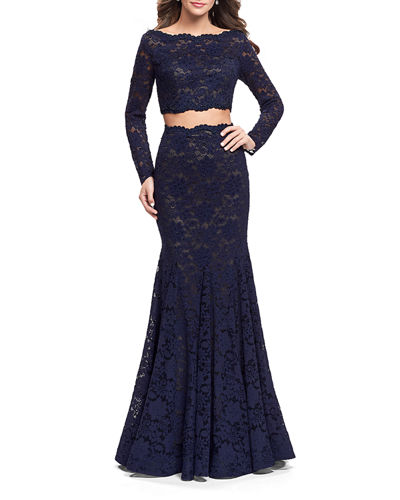 Embellished Two-Piece Long-Sleeve Lace Mermaid Gown