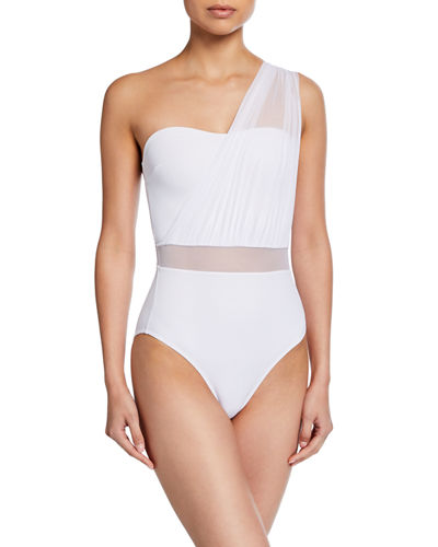 Sara Tulle Bandeau One-Piece Swimsuit