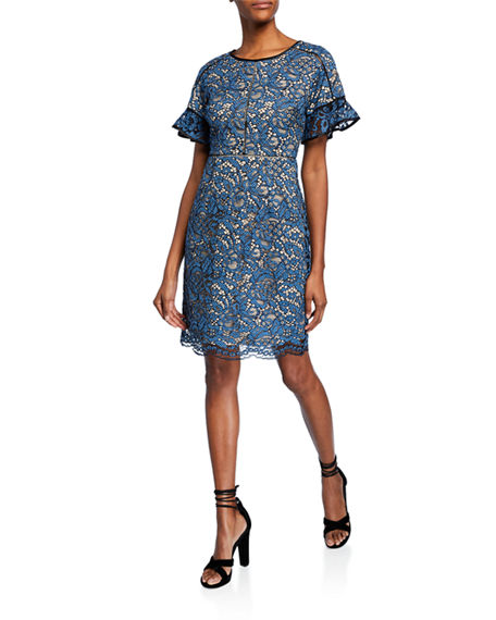 Shani Crewneck Flare-Sleeve Lace Cocktail Dress