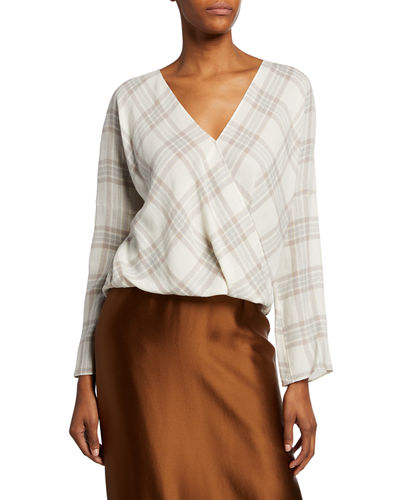 Plaid Crossover Blouse