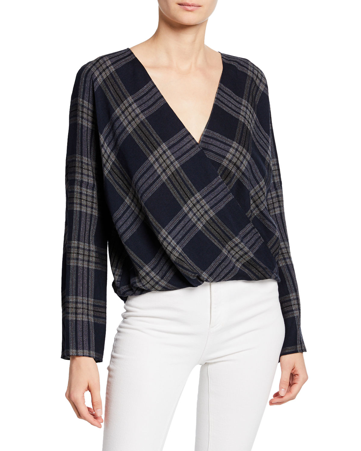 Vince Tops PLAID CROSSOVER BLOUSE