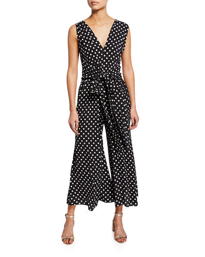lia polka-dot sleeveless wide-leg crop jumpsuit