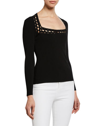 Plus Size Square-Neck Long-Sleeve Top with Diamond Cutouts