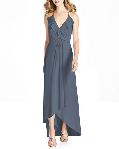 V-Neck Cross-Back High-Low Chiffon Bridesmaid Dress w/ Ruffle-Trim