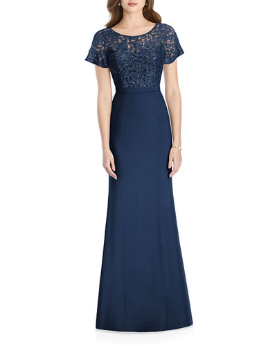 Sweetheart-Illusion Sequin Lace-Bodice Short-Sleeve Crepe Gown